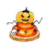 Funny Halloween cupcake with spiders and pumpkin Royalty Free Stock Images