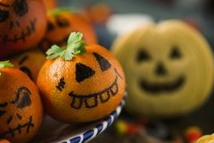 Funny halloween food on a rustic table royalty free stock photo