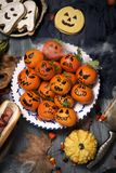 Funny halloween food on a rustic table royalty free stock photography