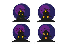 Funny Halloween house. With bats and face Royalty Free Stock Image