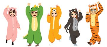 Funny Halloween Onesie Costumes Collection. Happy five people wearing funny animal onesie costume celebrating Halloween pajama party royalty free illustration