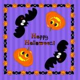 Funny Halloween pumpkin and bat Stock Photos