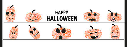 Funny halloween pumpkin with finger prints vector greeting. Card Royalty Free Stock Photography