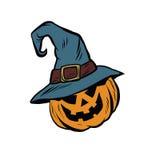 Funny Halloween pumpkin hat pilgrim Stock Images