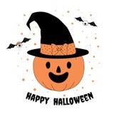 Funny Halloween pumpkin illustration Stock Image