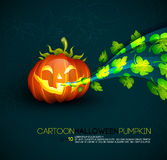 Funny Halloween Pumpkin with Spreading Leafs Stock Images