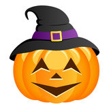 Funny Halloween Pumpkin with Witch Hat Royalty Free Stock Photos