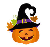 Funny halloween pumpkin with witches hat vector illustration. Royalty Free Stock Images