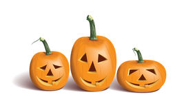 Funny halloween pumpkins. On a white background Royalty Free Stock Photos