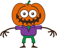 Funny Halloween scarecrow grinning while feeling embarrassed. Funny scarecrow with a big orange pumpkin as head, bulging eyes, wearing a purple shirt and green Royalty Free Stock Images