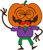 Funny Halloween scarecrow laughing enthusiastically. Funny scarecrow with a big orange pumpkin as head, bulging eyes, wearing a purple shirt and green pants Stock Images