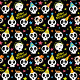 Funny Halloween seamless pattern with bright doodle skulls and s Stock Images
