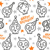 Funny Halloween seamless pattern with white doodle skulls and st Royalty Free Stock Images