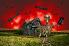 Funny Halloween Selfie. An evil, scary skeleton is taking a cell phone camera selfie picture of himself. In the background is a haunted house and bats flying Stock Image