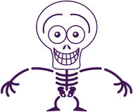 Funny Halloween skeleton grinning while feeling embarrassed Royalty Free Stock Photo