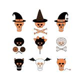 Funny Halloween skulls illustration. Set of hand drawn vector funny cartoon skulls with different patterns, witch hats, candy, lollipops, bones, ribbons, cat Royalty Free Stock Images