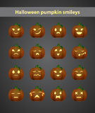 Funny halloween smileys. On black background Royalty Free Stock Image