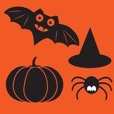 Funny halloween vector mystery vampire silhouettes. Dark spooky bats monsters isolated from orange background. Stock Photos