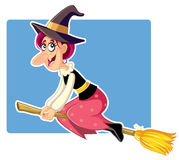 Funny Halloween Witch on a Broomstick Vector Royalty Free Stock Photo