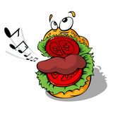 Funny Hamburger. Easy editable vector illustration of funny hamburger who is singing. You can use it for any of you needs and scale to any size without quality Stock Photography