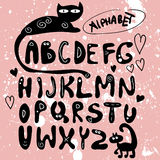 Funny hand drawn alphabet. Design Royalty Free Stock Images