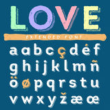 Funny hand drawn alphabet set in lowercase. Funny hand drawn alphabet set of lowercase latin and special letters Stock Photography