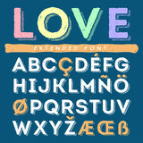 Funny hand drawn alphabet set in uppercase. Funny hand drawn alphabet set of uppercase latin and special letters Royalty Free Stock Photos