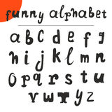 Funny hand drawn alphabet. Vector font. Vector illustration Royalty Free Stock Photos