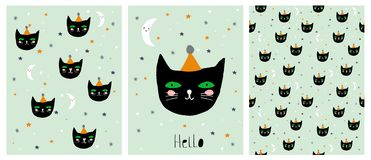 Funny Hand Drawn Black Cat Vector Illustration Set. Cute Infantile Style Cards and Pattern. Green Mint Background with Stars and Smiling Moons. Hand Written Royalty Free Illustration