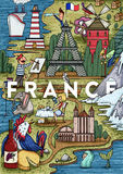 Funny Hand drawn Cartoon France map with most popular places of interest Royalty Free Stock Photos