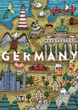 Funny Hand drawn Cartoon Germany map with most popular places of interest vector illustration