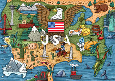 Funny Hand drawn Cartoon USA map with most popular places of interest. Vector illustration royalty free illustration