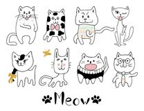 Funny hand drawn cats. Animals vector illustration with adorable kittens. Royalty Free Stock Images
