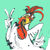 Funny hand drawn cock showing victory sign and winking Royalty Free Stock Photography