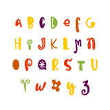 Funny hand drawn colorful alphabet. Vector letters set. Fun style with decorations Stock Photo