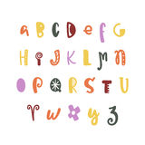 Funny hand drawn colorful alphabet. Vector letters set. Fun style with decorations Royalty Free Stock Photos
