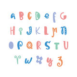Funny hand drawn colorful alphabet. Vector letters set. Fun style with decorations Stock Image