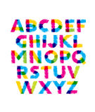 Funny Hand Drawn Coloured Alphabet ABC. Creative Vector Typography Concept Stock Photos