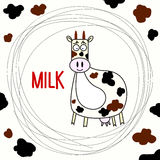 Funny hand drawn doodle cow. Royalty Free Stock Photos