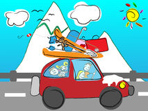 Funny hand drawn family goes on holiday by car wit Royalty Free Stock Image