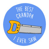 Funny hand drawn Father`s Day greeting card Stock Photo