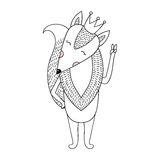 Funny hand drawn fox cartoon with crown. Children cute animal il Stock Image