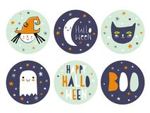 Funny Hand Drawn Halloween Candy Bar Tags. vector illustration