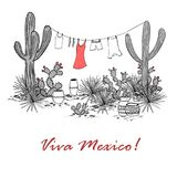 Funny hand drawn illustraytion with jars, saguaro, blue agave, prickly pear,  Stock Photo