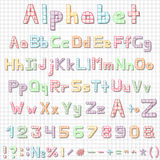 Funny hand drawn latin alphabet letters, sketch. Font in style checkered sheet of paper. Colorful vector ABC with shadows for cards and media Royalty Free Stock Photography