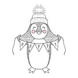 Funny hand drawn penguin cartoon with happy banner. Children cut Royalty Free Stock Photography