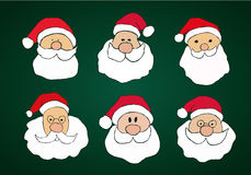 Funny Hand Drawn Santa Clauses Set on Dark Green Stock Photography
