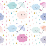 Funny hand drawn seamless pattern background with colorful watercolor drops and clouds. Stock Image