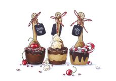 Funny hand drawn sketch of party dark, milk and white chocolate spoons with cherry, marshmallow, candy decorated with tags. Sweet food illustration on white Stock Images