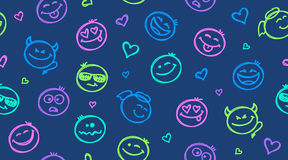 Funny hand drawn smiles seamless pattern Stock Image